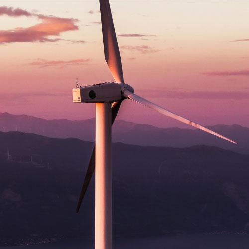 Scenery and wind turbine