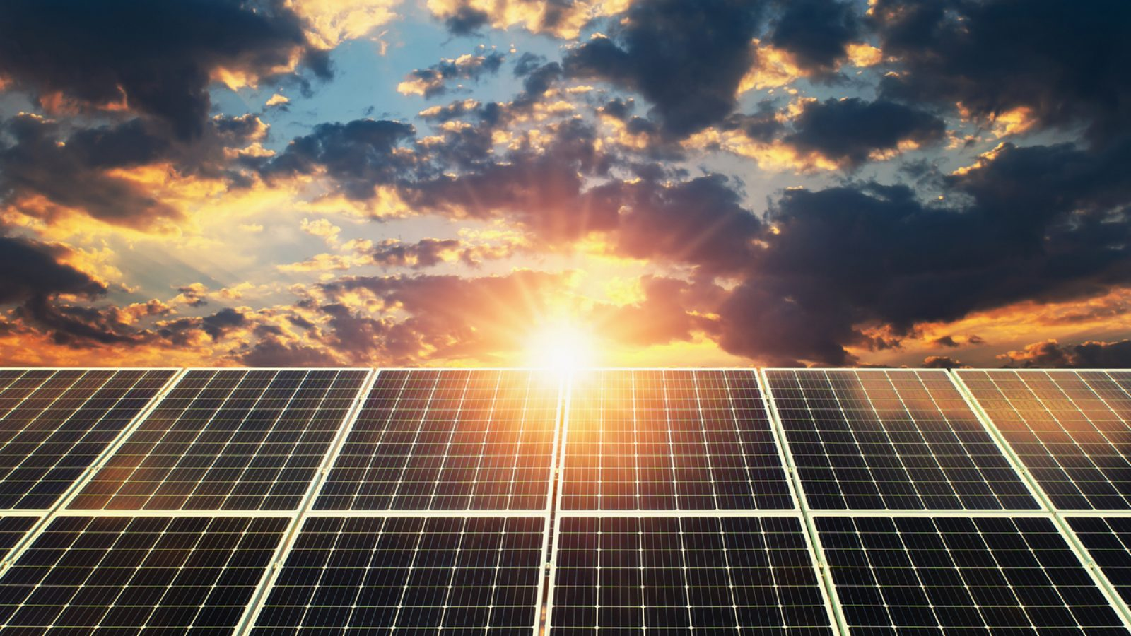 Solar panel sunset. concept clean energy, electric alternative, power in nature