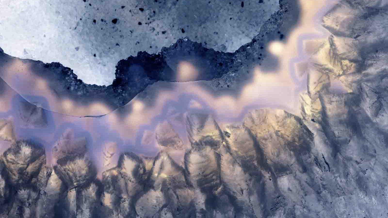 Closeup Macro Crystalline Crystal Patterns Textures In Geode Slices Of Rock